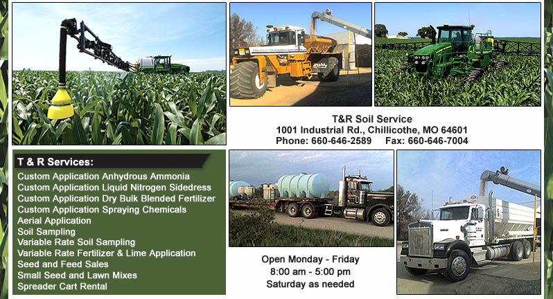 T&R Soil Service, Chillicothe, Missouri, 660 646 2589, Feed - Seed - Soil Sampling - Chemicals and Fertlizer